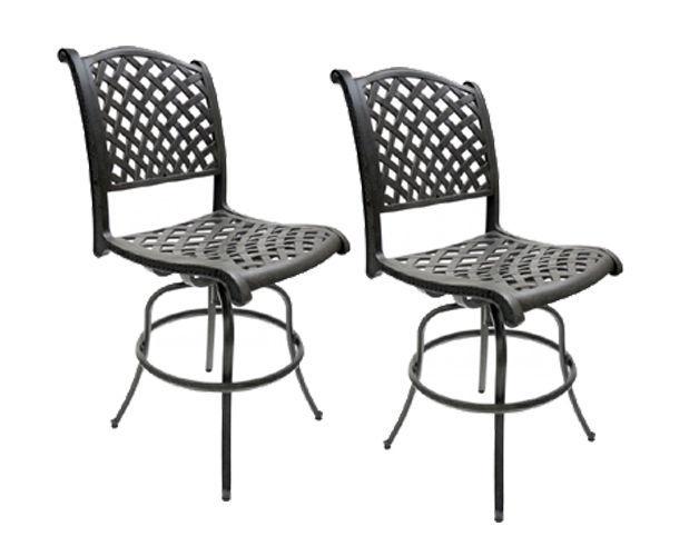 Patio Bar Stools Set of 2 Armless Outdoor Furniture Cast Aluminum Sunbrella Seat