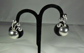 Textured Silver Tone Earrings Blue Rhinestones - $7.91