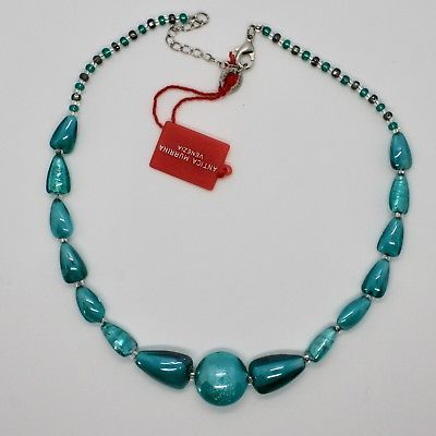 NECKLACE ANTIQUE MURRINA VENICE WITH MURANO GLASS TURQUOISE BLUE CO896A59