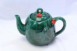 "Lefton Green Holly Berry Tea Pot 7"" Tall - $48.99"
