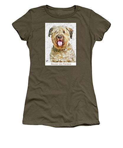 Primary image for Pieter - Bouvier Des Flanders - Women's T-Shirt - Military Green/XLarge