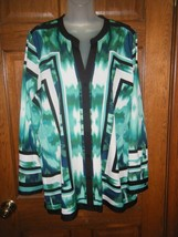 Calvin Klein Green White & Black Print Tunic Blouse - Size L - $16.82
