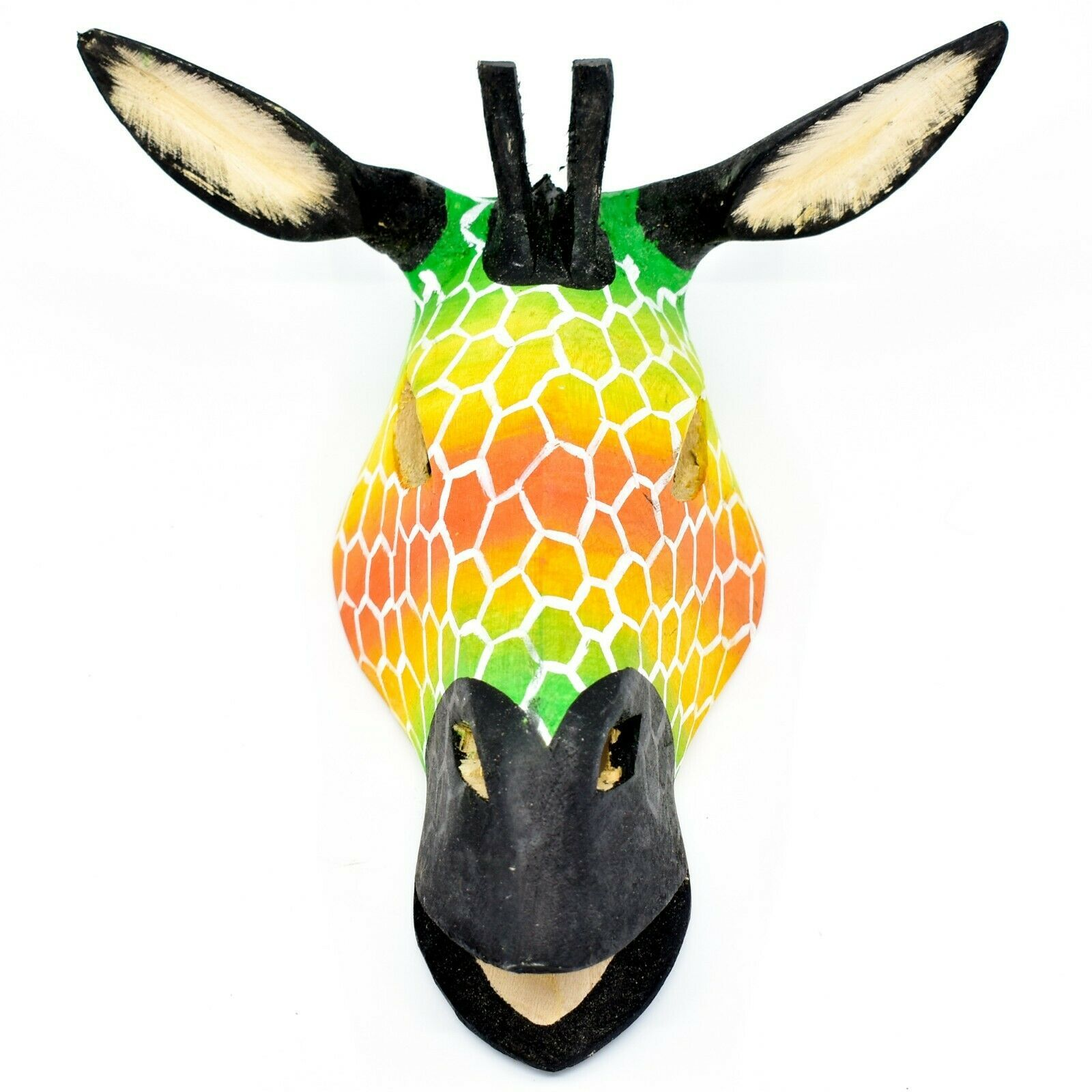 Hand Carved Painted Jacaranda Wood Vibrant Multicolor Giraffe Mask Decor