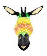 Hand Carved Painted Jacaranda Wood Vibrant Multicolor Giraffe Mask Decor - $40.38 CAD