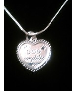 """""""My Dog Completes Me"""" Sterling Silver Heart Necklace - $8.99"""
