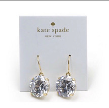 Kate Spade Gold Plated SHINE ON Crystal Round Drop Earrings S107 - $21.78