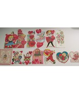 Vintage Valentines Lot of 13 Cards Cherubs Doll Clown Giant - $12.86