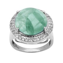 Prehnite & White Topaz 925 Sterling Silver Ring Shine Jewelry Size-9.5 S... - €25,40 EUR