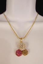 Damen Kurze Modische Halskette Metall 3 Bälle Silber Gold Strass Anhänger Bling image 2
