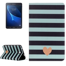 For Galaxy Tab A 7.0 Stripe and Heart Pattern Flip Leather Case with Holder - $13.29