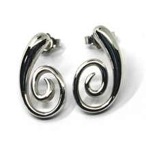 SOLID 18K WHITE GOLD PENDANT EARRINGS, SPIRAL, OVAL, PENDANT, MADE IN ITALY image 2