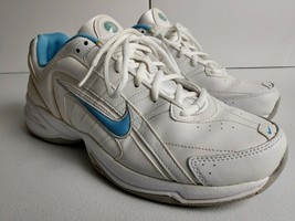 Nike T-Lite VIII Leather Walking Running Shoes Women's Size 11 White/Blue - $28.84