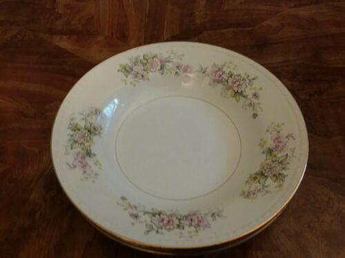 Set 4 Vtg  Soup Bowls Homer Laughlin Goergian Flowers Gold Trim