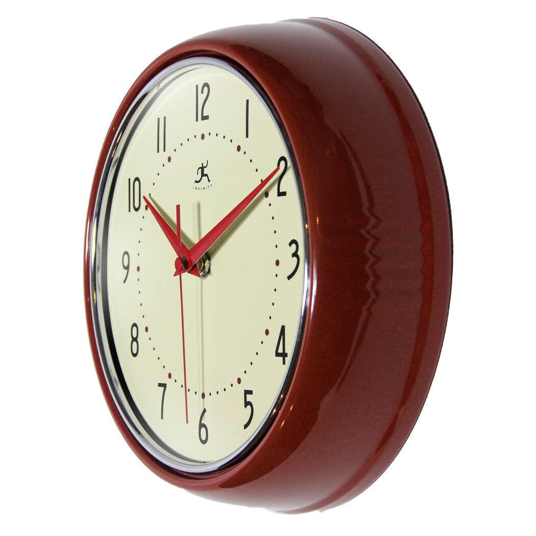 Red Retro Wall Clock Vintage 50s Kitchen Round Quartz