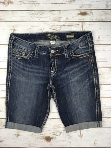 SILVER JEANS SHORTS Low Rise Twisted Thick Stitching Denim Cuffed Jean Short 31