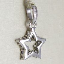 White Gold Pendant 750 18k, Stella, 1.7 CM Long, with zirconia, Made in Italy image 3