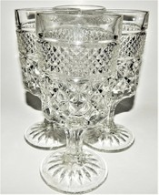 4 Anchor Hocking Wexford Crystal Wine Water Goblet Footed Glasses Clear ... - $31.68