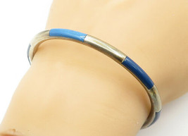 925 Sterling Silver - Vintage Lapis Lazuli Inlay Pattern Bangle Bracelet... - $52.41