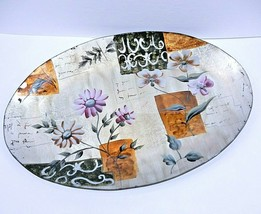 """Vintage Reverse Painted Floral Glass Oval Serving Tray Silver Foil 16"""" J... - $24.49"""