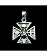 Solid 925 Sterling Silver Croix Pattee Iron Cross 4 Card Suits Skull Pen... - $20.75