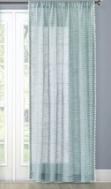 "Threshold Pom Stripe Window Panel Curtain Sheer Aqua 95"" - $17.99"