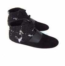 J-2419310 New Chanel Black Tweed Hi-Top Sneakers Size 37.5 US 7.5 - $474.99