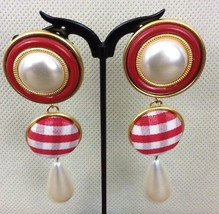"""Vintage Gold Tone Red Accent and Faux Pearl  Dangle 3.5""""  Earrings     (84) - $28.70"""
