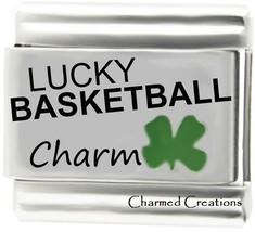 Lucky Basketball 9mm Italian Charm With Green Four Leaf Clover Good Luck... - $7.91