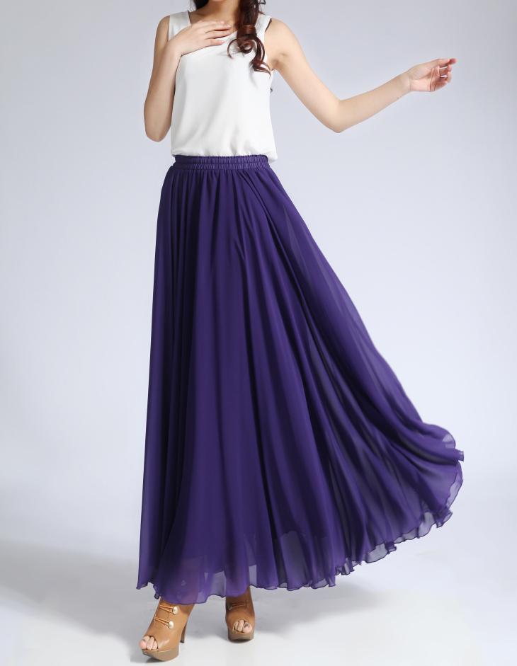 Chiffon skirt purple 2