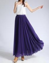 Purple Chiffon Skirt High Waisted Long Chiffon Skirt Wedding Chiffon Skirts image 5