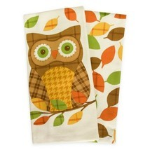 "Thanksgiving Plaid Owl Dish Kitchen Towels Set of 2 100% Cotton 16x26"" F... - $27.60"