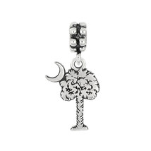 Sterling Silver Palmetto Tree Palm Tree with Crescent Moon Dangle Bead C... - $17.16