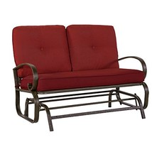 Cloud Mountain Patio Glider Bench Outdoor Cushioned 2 Person Swing Loves... - $232.86