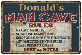 Donald's Man Cave Rules Chic Rustic Green Sign Home Metal 108120049465 - $18.95+