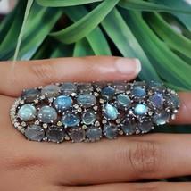 Labradorite Gemstone Armor Knuckle Ring Sterling Silver Diamond 14k Gold... - $840.66