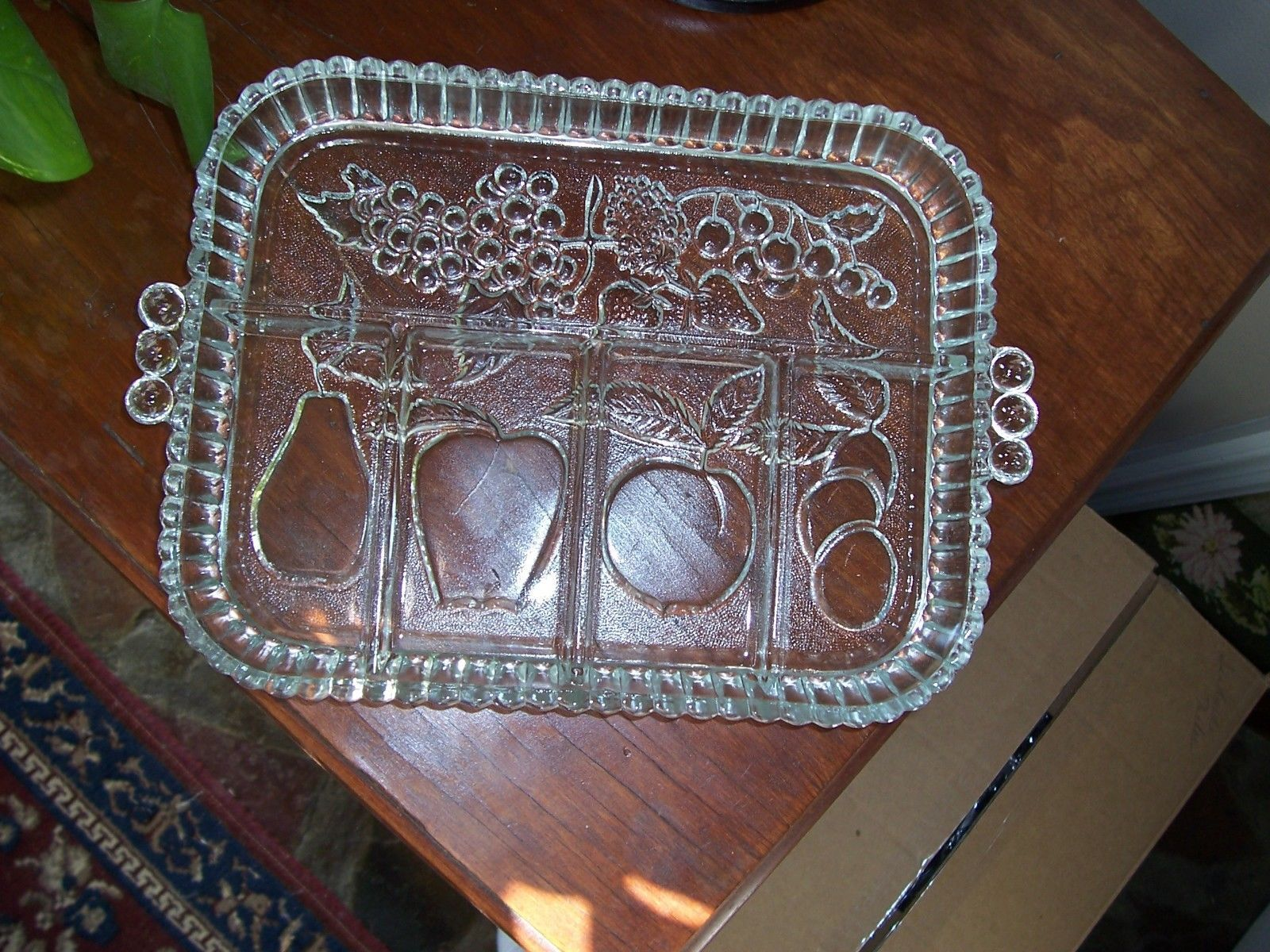Vintage 5 Part Relish Tray Clear Never Used - $9.99