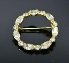 Clear Glass Rhinestone Dainty Gold Tone Wreath Circle Pin Vintage - $19.79
