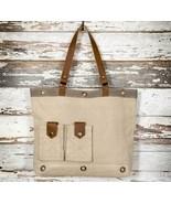 Casual Khaki Canvas + Leather Tote Bag Outside Pockets, Lined, Inside Po... - $46.95