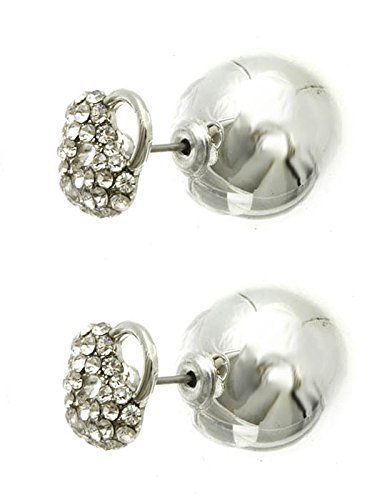 Rhinestone Heart Shaped Lock Ball Earrings - Double Sided (Silvertone)
