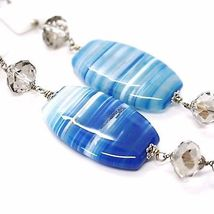 SILVER 925 NECKLACE, AGATE BLUE STRIATA OVAL BIG, agate WHITE, LONG 35 3/8in image 4