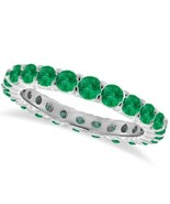 1CT Emerald Eternity Ring 14K White Gold - $600.97