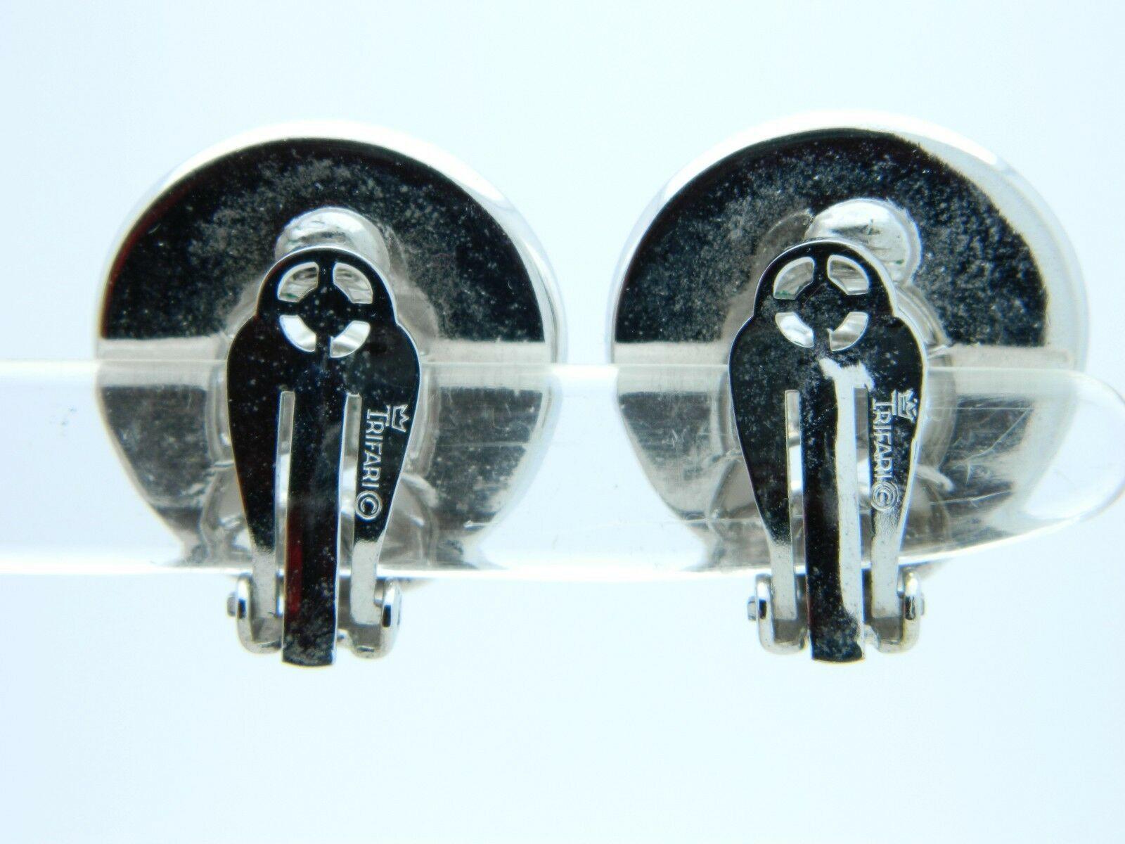 VTG 1958 CROWN TRIFARI Silver Tone SANTA ANITA White Thermoset Clip Earrings