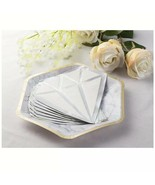 50 Pack Diamond Shaped White & Silver Foil Cocktail Party Wedding Paper ... - $24.49