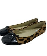 Steve Madden Tipie Ballet Flat Quilted Cap Toe Leopard Print Calf Hair B... - $34.62