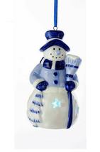 KURT ADLER PORCELAIN B/O DELFT BLUE LED SNOWMAN w/ BROOM CHRISTMAS ORNAMENT - $8.88