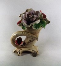 Large VTG. Capodimonte Horn of Plenty Cornucopia  w/ Roses Signed No Damage! - $75.00