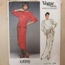 1985 Vogue American Designer Sewing Pattern 1510 Kasper Devant Dress Siz... - $21.85