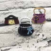 Barbie Doll Purses Cute Lot Of 3 Purple Black Hard Rubber - $7.91