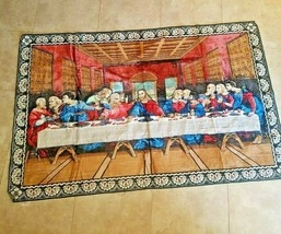 Jesus Last Supper plush tapestry rug wall hanging Italy - $118.80
