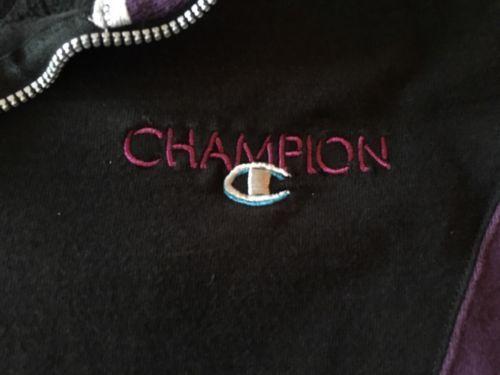 1/4 zip Pullover Champion  athletic  sweatshirt Purple Black Vintage Cotton Thik